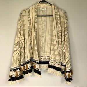 Zara Woman folk boho open front cardigan kimono M